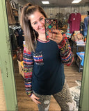 Fiesta Friday Tribal Print Long Sleeve Top - Bronco Western Supply Co.
