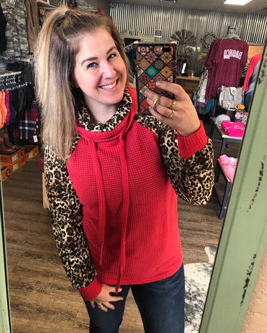 One of Them Girls Leopard and Waffle Knit Cowl Hoodie - Bronco Western Supply Co.