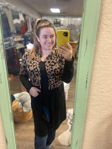 The Shania Leopard and Black Hooded Cardigan - Bronco Western Supply Co.