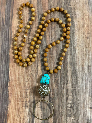 Wood Jasper Necklace with Turquoise Drop - Bronco Western Supply Co.