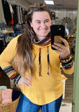 Freelance Dreamer Mustard Aztec Cowl Neck Long Sleeve Top - Bronco Western Supply Co.