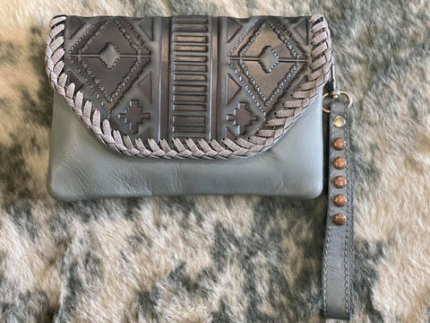 Montana West 100% Genuine Leather Floral Tooled Collection Clutch/Crossbody -Grey - Bronco Western Supply Co.