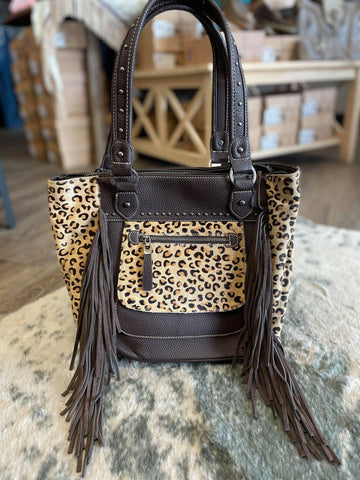 Trinity Ranch Hair-On Leather Collection Concealed Handgun Tote Bag Purse- Leopard/ Coffee - Bronco Western Supply Co.