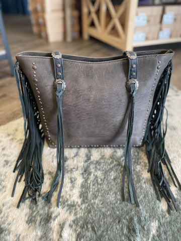 Montana West Real Leather Fringe Collection Safety Travel Tote - Black - Bronco Western Supply Co.