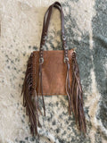 Montana West Real Leather Fringe Collection Concealed Carry Boho Shoulder Bag -Brown/Coffee - Bronco Western Supply Co.