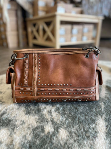 Montana West Concho Collection Concealed Carry Satchel -Brown - Bronco Western Supply Co.