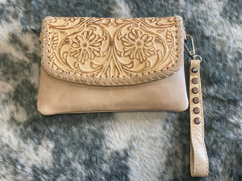 Montana West 100% Genuine Leather Floral Tooled Collection Clutch/Crossbody -Tan - Bronco Western Supply Co.