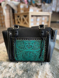 Trinity Ranch Tooled Leather Collection Tote -Black /Turquoise - Bronco Western Supply Co.