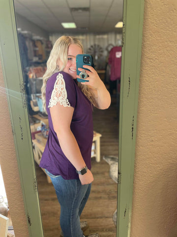 Crochet-Shoulder Short Sleeve Purple Top - Bronco Western Supply Co.