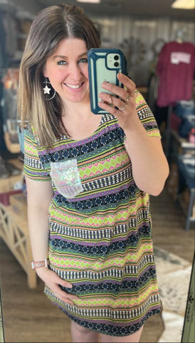 To the Tropics Bright Aztec T-Shirt Dress with Sequin Pocket - Bronco Western Supply Co.