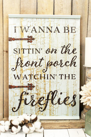 Front Porch & Fireflies Wood Wall Sign - Bronco Western Supply Co.