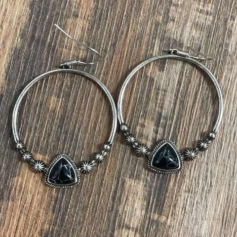 Stone Circle Dangle Earrings Black - Bronco Western Supply Co.