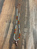Seed Bead Choker White/Long Horn - Bronco Western Supply Co.