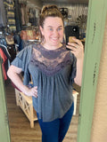 Give it a Whirl Lace Short Sleeve Top - Bronco Western Supply Co.