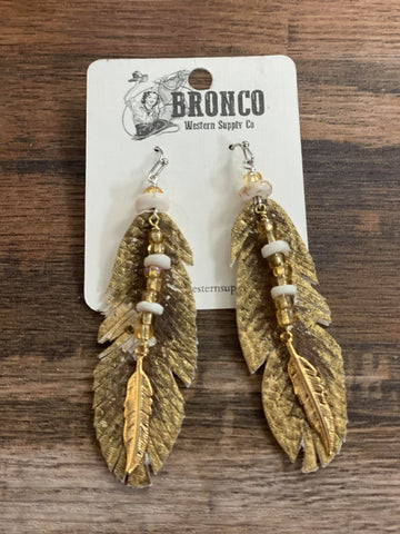 Leather Feather Earrings Gold 30 S - Bronco Western Supply Co.