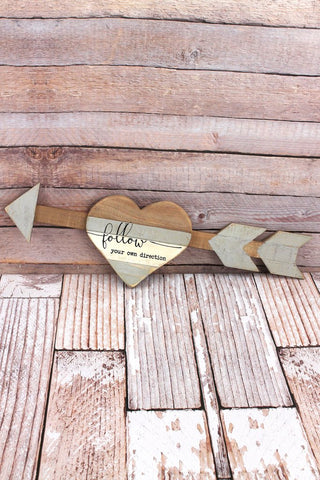 'Follow Your Own Direction' Wood Arrow