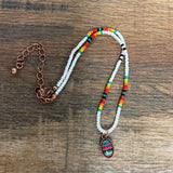 Seed Bead Choker White/Serape - Bronco Western Supply Co.