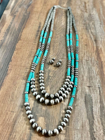 Navajo Style Pearl Turquoise Layered Necklace Set - Bronco Western Supply Co.