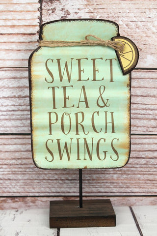'Sweet Tea & Porch Swings' Tin Mason Jar Tabletop Sign