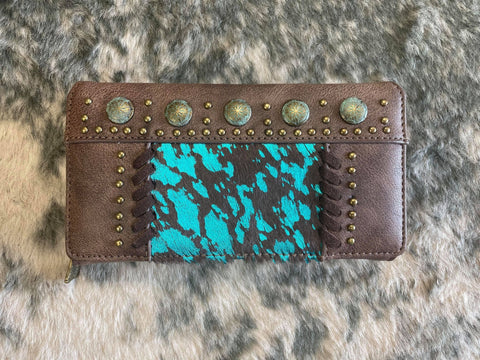 Trinity Ranch Hair-On Collection Secretary Style Wallet - Coffee Turquoise - Bronco Western Supply Co.