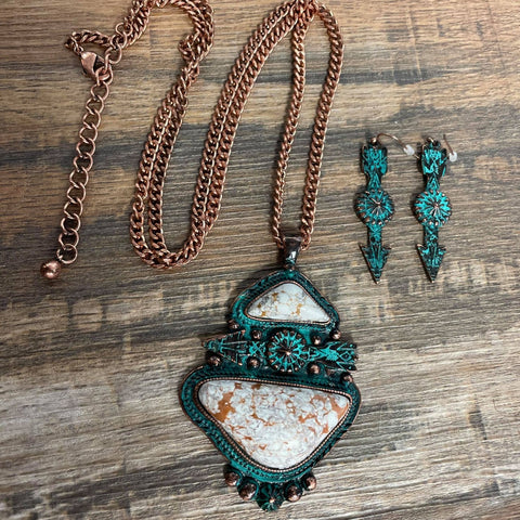Copper Turquoise Arrow Long Necklace Set - Bronco Western Supply Co.