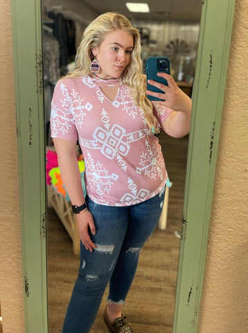 Spring Fever Pink Aztec Dolman Top - Bronco Western Supply Co.
