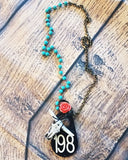 Cattle Tag Cowgirl Necklace - Coral and Turquoise