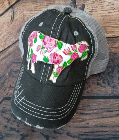 Flowering Cow Hat - Hand-painted