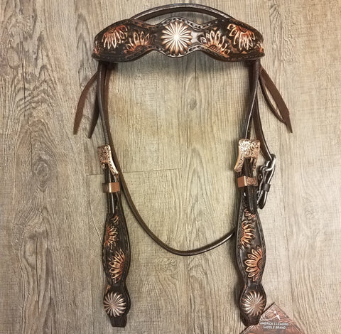 "5/8"" Browband Vintage Sunflower Headstall - Bronco Western Supply Co."