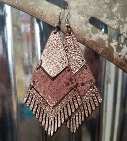 Leather & Fringe Earrings - Rose Gold