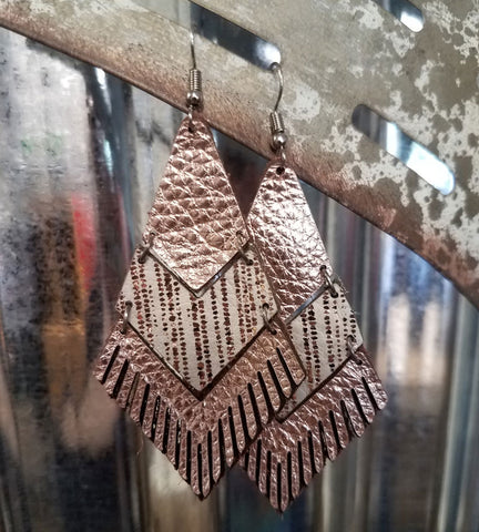 Leather & Fringe Earrings - Rose Gold and White