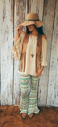 Mint Tribal Boho Bell Pant with Crochet Trim