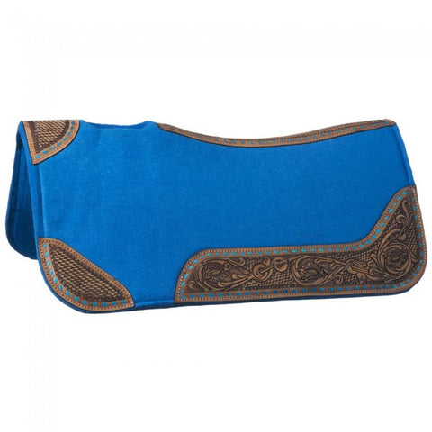 30 x 30 Buckstitch Barrel Saddle Pad - Turquoise - Bronco Western Supply Co.