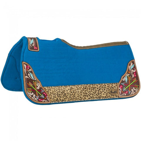 Hand Painted Arrow Saddle Pad - Turquoise - Bronco Western Supply Co.