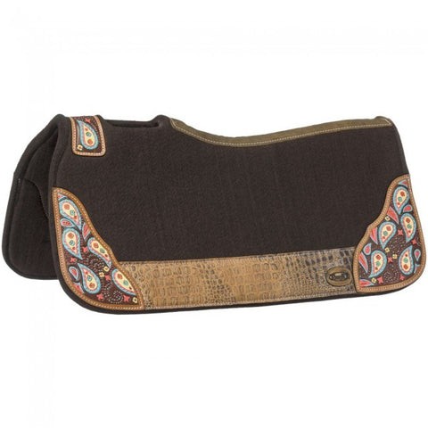 Hand Painted Paisley Saddle Pad - Brown - Bronco Western Supply Co.
