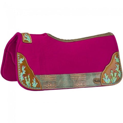Hand Painted Cactus Saddle Pad - Pink - Bronco Western Supply Co.