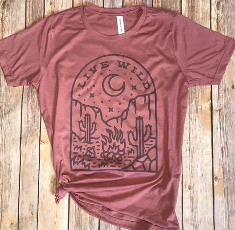 Live Wild Mauve Tee - Bronco Western Supply Co.