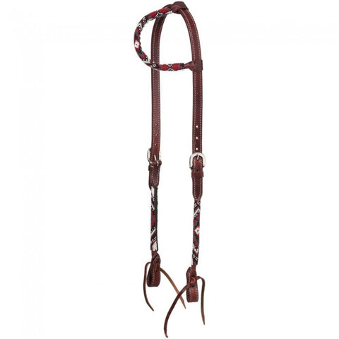 Beaded Diamond Ear Headstall - Red - Bronco Western Supply Co.