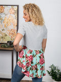 Call Me Judy Bloom Top with Floral Back & Lace Accent - Bronco Western Supply Co.