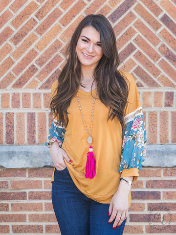 Whisk Me Away Top with Floral Sleeve Detail, Mustard