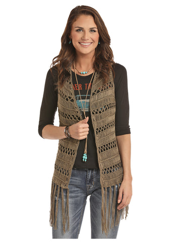 Far Out Fringe Vest in Olive - Bronco Western Supply Co.