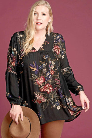Fall Flowers Crinkle Tunic
