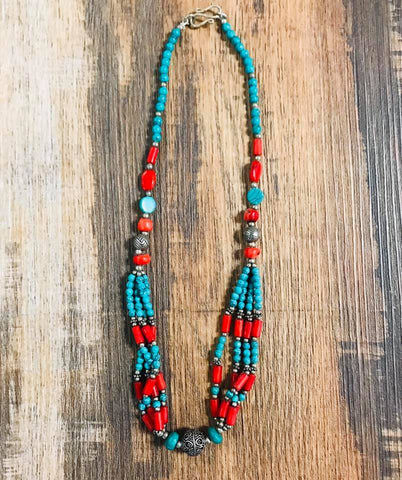 Turquoise and Red Beaded Necklace - Bronco Western Supply Co.