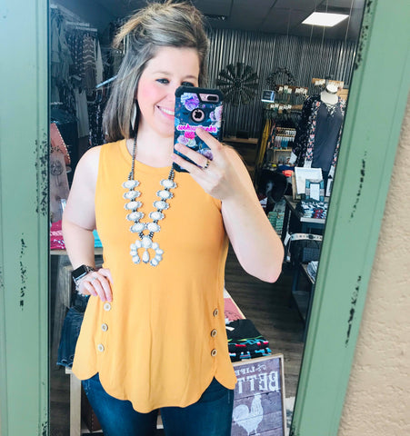 All Buttoned Up in Mustard Tank