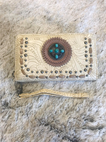 Trinity Ranch Tooling Collection Wallet/ Wristlet with Concho - Bronco Western Supply Co.