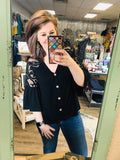 Take Me Out Black Bell Sleeve Top with Buttons and Lace Shoulders - Bronco Western Supply Co.