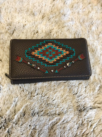 Montana West Aztec Collection Wallet Embroidered with Arrows - Bronco Western Supply Co.