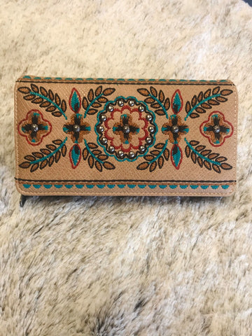 Montana West Embroidered Collection Secretary Style Wallet Tan Floral - Bronco Western Supply Co.