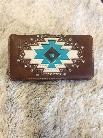 Montana West Aztec Collection Wallet with Bling - Bronco Western Supply Co.