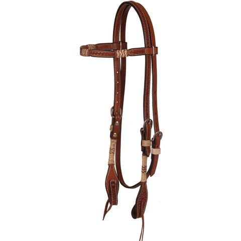 Browband Headstall with Rawhide Knots - Bronco Western Supply Co.